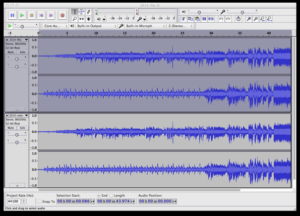 Waveforms of Files B and D