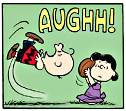 Lucy snatches football from Charlie Brown... again