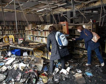wreckage of the school library